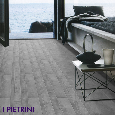 Plank cut ceramics bedroom floor I Pietrini